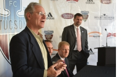 "At the press conference announcing Tucson's first international soccer ""friendly."""