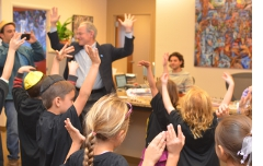 With Tucson Hebrew Academy 1st-graders, learning Hanukkah dance moves.