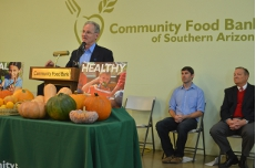 At the press conference announcing the Food Bank's grant.