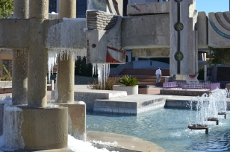 A frozen fountain outside City Hall.