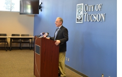 At a press conference on the sequester and its impact on Tucson.