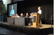 Leading a panel discussion at the Seniors Summit.