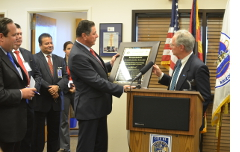 Receiving a plaque of appreciation from Sonora's President of the Senate/Speaker of the House.