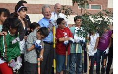Planting the 10,000th Tree at Oyama Elementary.
