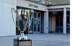 Volleyball tournament trophy outside City Hall.