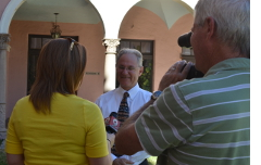 Being interviewed by KGUN 9 at the press conference kicking off the enrollment period.