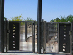 Gates for large and small dog areas at Purple Heart Park