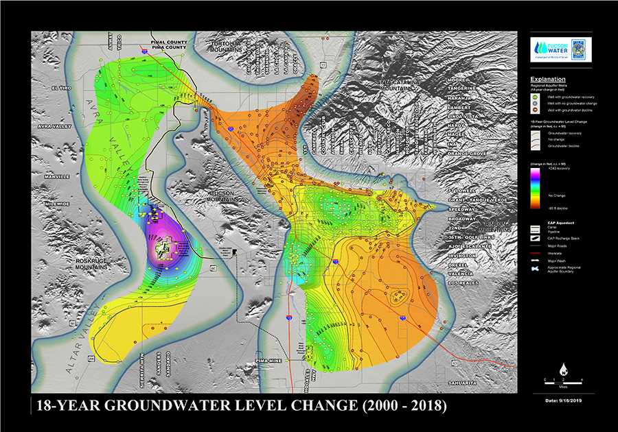Groundwater Level Change Map from Tucson Water; updated Sept 2019.