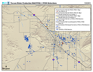 Map of Tucson Water wells tested for PFOA and PFOS